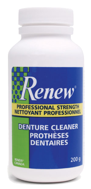 Bottle of Renew Denture cleaner